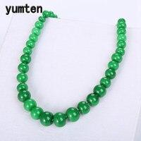 Yumten Jasper Women Statement Green Crystal Necklace Korean Angel Natural Stone Charm Beads Chain Chunky Vintage Fashion Jewelry