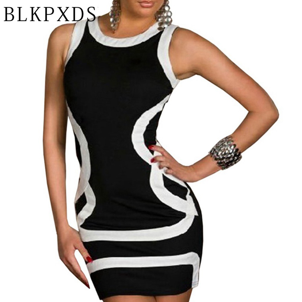 Top Summer Women O Neck Sexy Dress Pink White Black -5014