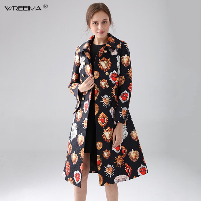 Custom Plus Size   Trench   High Quality Long Coat Women Full Sleeve Elegant Double Breasted Black Heart gemstone Vintage Coat Women