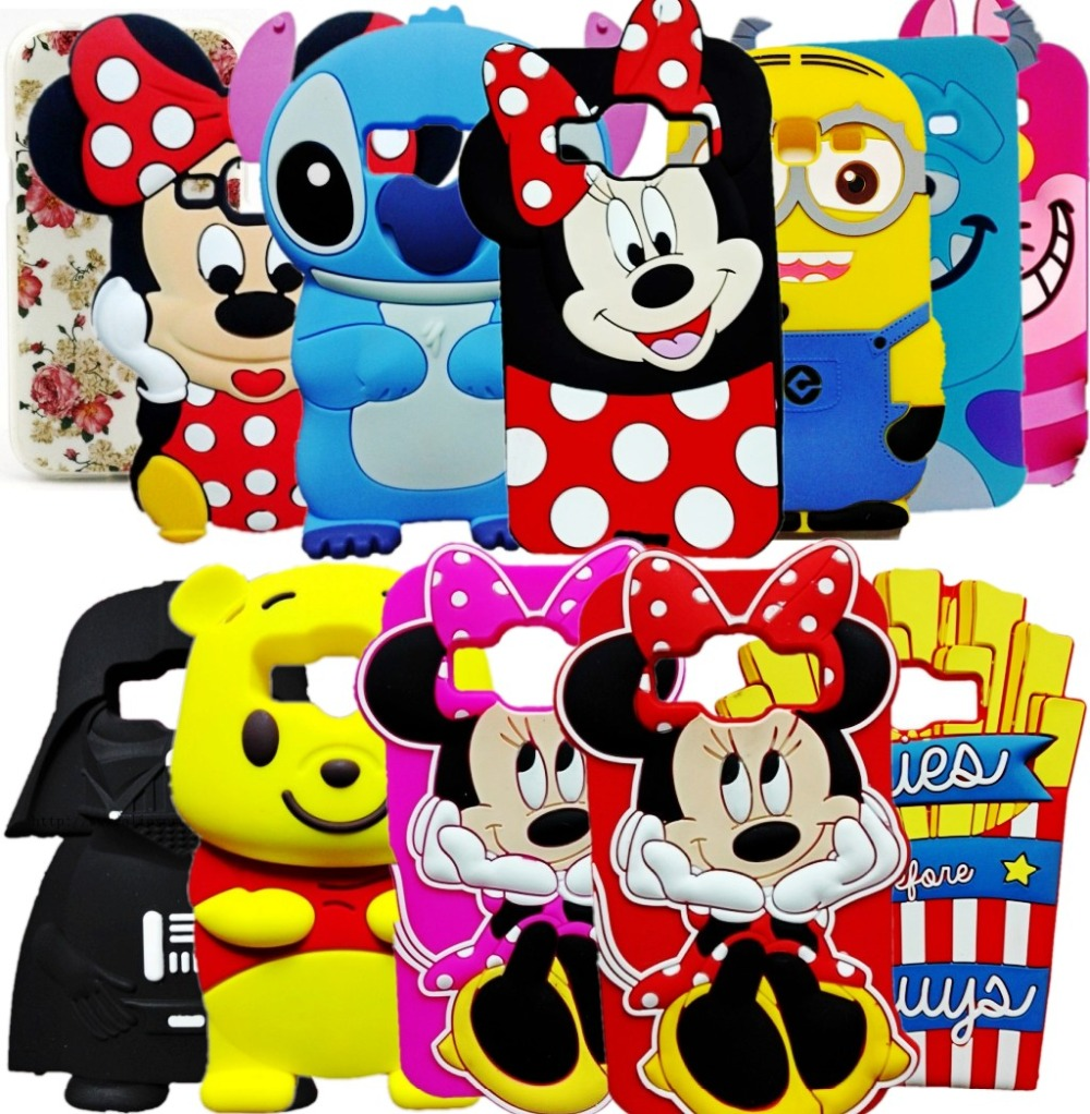 Cute 3D Cartoon Stitch Minnie Mouse Sulley Minions Back Cover Silicone Case For Samsung Galaxy J1 2015 2016 J120