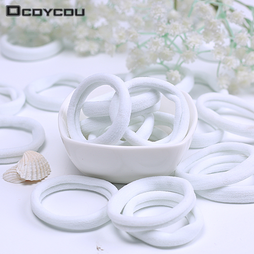 20PCS Girls   Headwear   White Elastic Hair Bands Hair Rubber Bands Ponytail Holder Hairbands Headband Hair Accessories