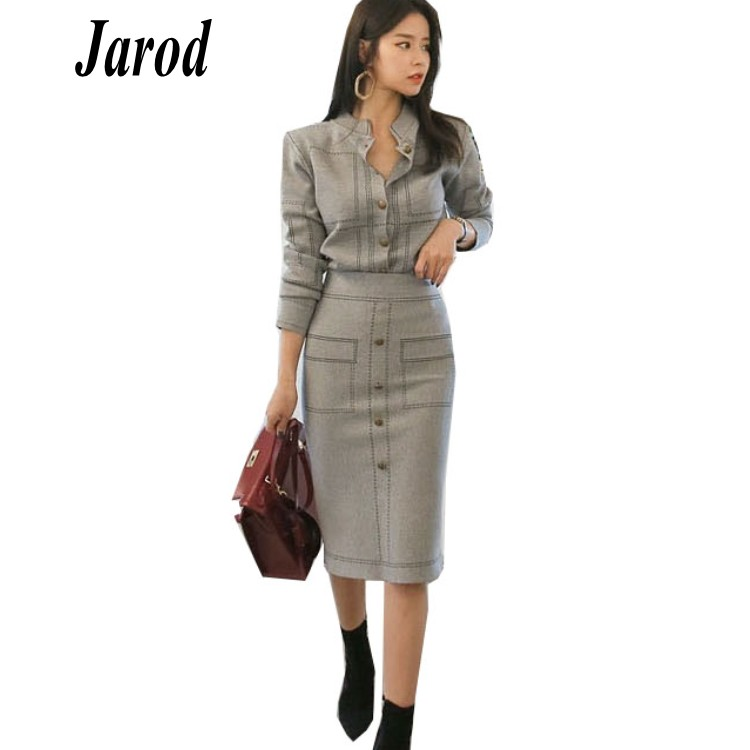 Women Knitted Jackets Coats+pencil Skirts Sets Single Breasted Knitting Sweater Shirts Skirt Suits for Elegant Woman 2pcs Set
