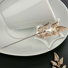 Mdiger New Arrival Metal Accessories Long Pin Leaf Brooches Men & Women Wedding Broches Female Party Dress Mens Suit Brooch