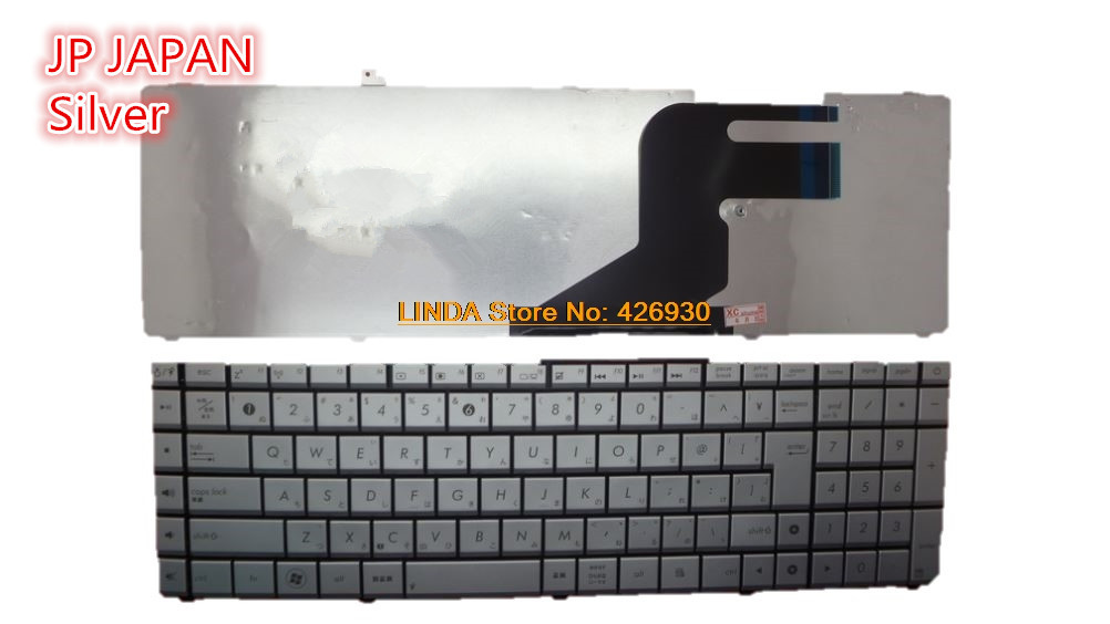 Laptop <font><b>Keyboard</b></font> For <font><b>ASUS</b></font> N75 N75S N75SF N75SL <font><b>N55S</b></font> N55SL Silver SP Spain/US United States/JP Japanese/NE Nordic MP-11F33US-686 image