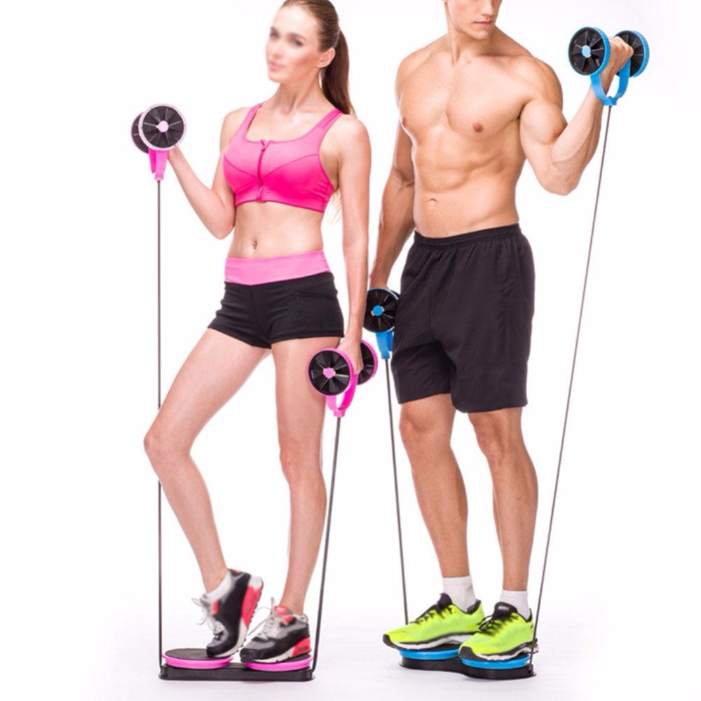 Multi-functional Home Exercise Fitness Pull Rope Training Slimming Abdominal Double Wheels Roller fitness equipment