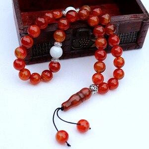 Image 3 - New Handmade 10mm Natural stone beads 33 Prayer Beads Islamic Muslim Tasbih Allah Mohammed Rosary for women men Bead Jewelry