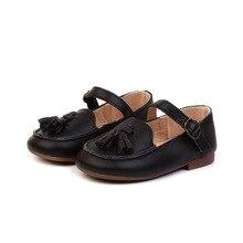 Nova Chegada 2018 Outono Meninas Sapatos de Couro Genuíno Borla Sapatos Casuais Sapatos de Bebê Meninas Sapatos de Couro Macio Crianças Sólida 1- 6 anos