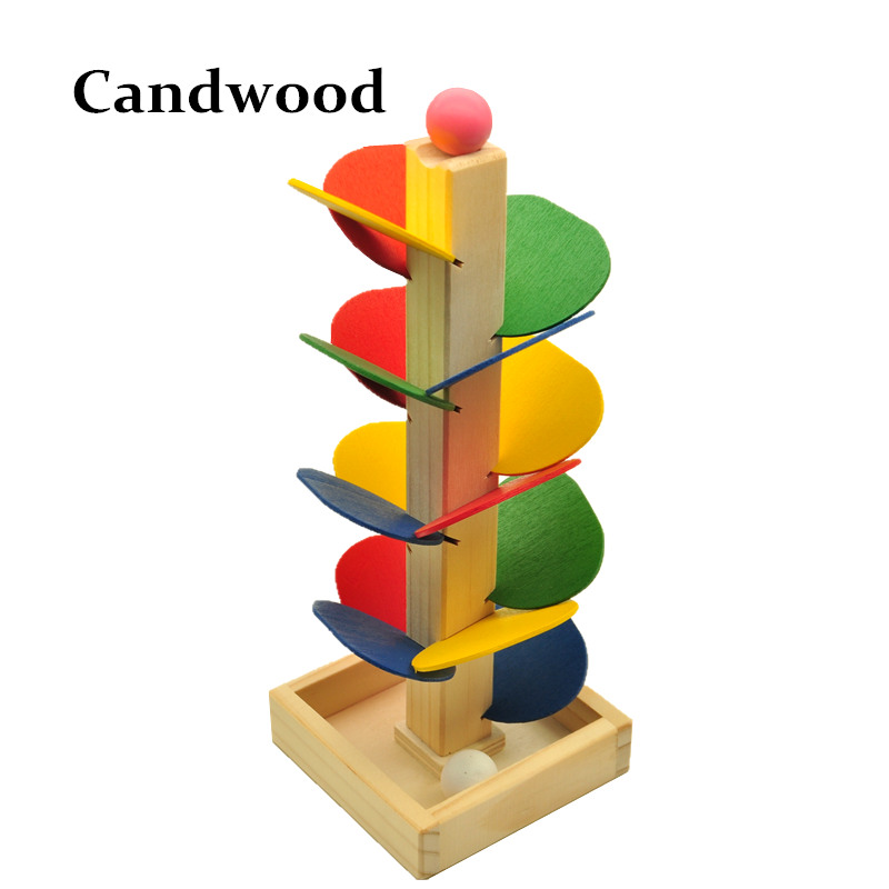 Wooden Tree Marble Ball Run Track Game Baby Kids Children