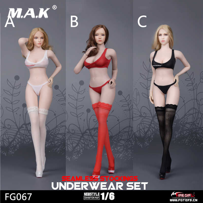 "1:6 White  Female underwear Bikini Set W Stocking For 12/"" Phicen Large Bust Body"
