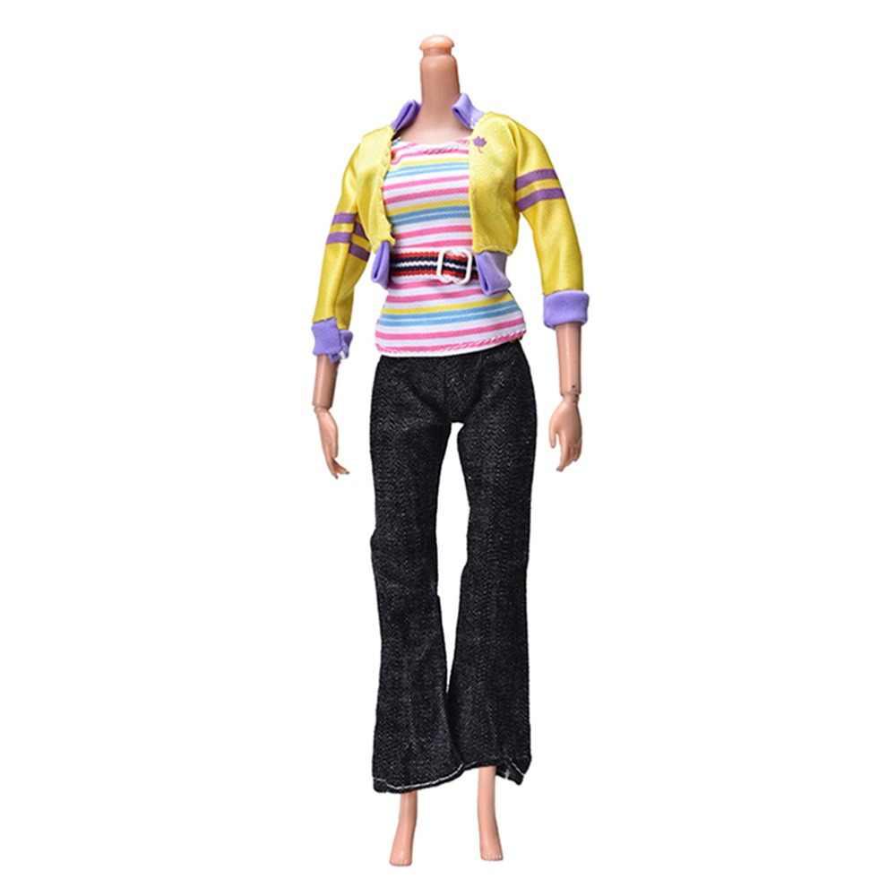 ファッション黄色のコート黒パンツ虹ベスト女の子のため Dollss 人形春秋服 3 ピース/セット