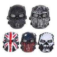 Jogos de Paintball Airsoft Completa Rosto Proteção Máscara Do Partido Crânio Do Exército Ao Ar Livre Malha de Metal Escudo Eye Costume 5 Cores