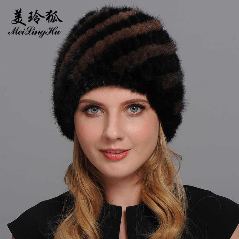 2019 yeni hakiki vizon kürk şapka kulakları ile kış sıcak doğal gerçek kürk kapaklar bere üst elastik ananas şapkalar kadın kemik sıcak