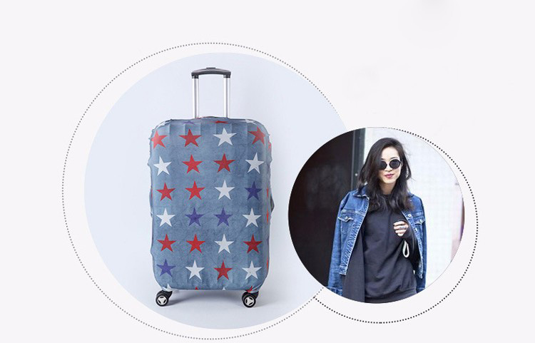 TRIPNUO Thicker Blue City Luggage Cover Travel Suitcase Protective Cover for Trunk Case Apply to 19''-32'' Suitcase Cover 29
