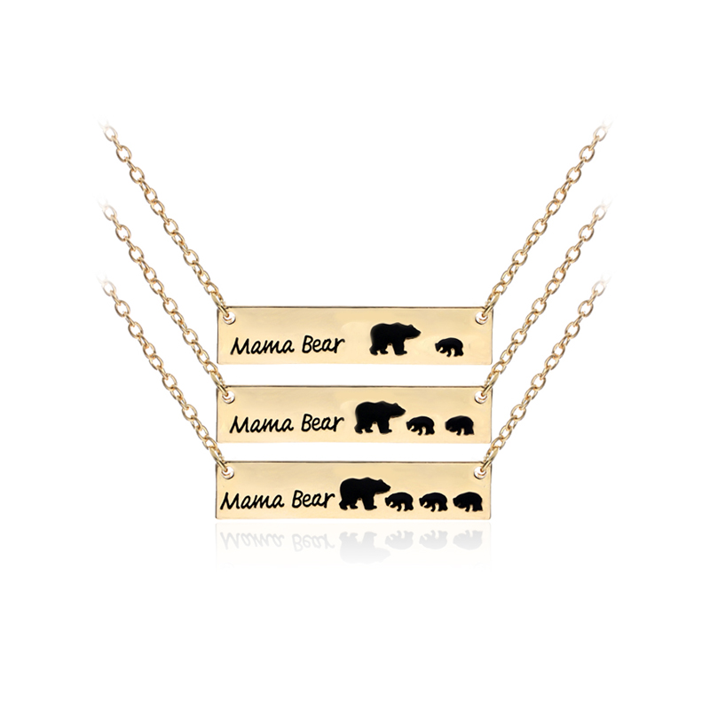 Cubs Silver//Gold-color Baby New Gift Mom Necklace Mama Mothers Bear