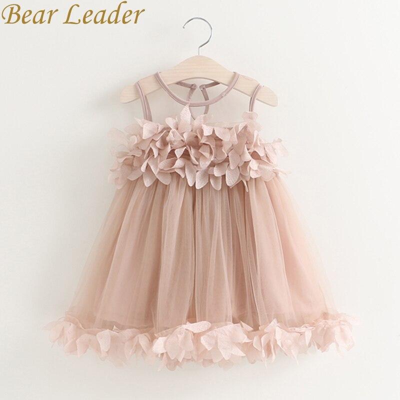 Bear Leader Girls font b Dress b font 2017 New Summer Mesh Girls Clothes Pink Applique
