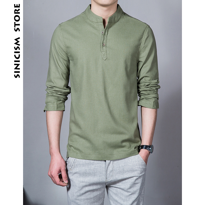Sinicism Store Cotton Linen Men Shirts Man Long Sleeve Solid Color Stand Collar Chinese Clothes Male Big Size Casual Shirts