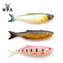 W.P.E NEW Soft Lure 6pcs/pack 9cm 7g/pcs Minnow Worms Fishing Bass Jig Silicone Rubber Body Swimbait Shad Wobbler Bait