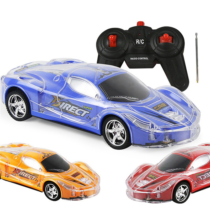 4WD 1/24 RC Remote Control Light Up Racing Car W/ 3D Flashing Lights Drive Toy Red Blue Yellow For Kids Children Birthday Gift ...