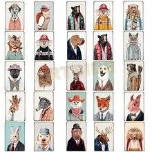 Различные винтажные животные металлическая жестяная вывеска для паба бар украшения тарелки кошки и собаки художественная Живопись Домашний Декор