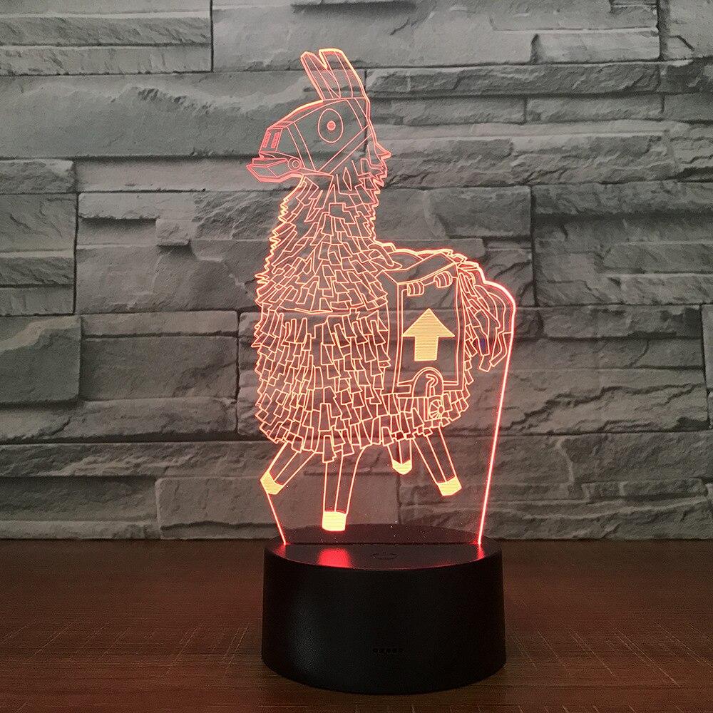 Fortnite Souvenir Regalo 7 Colori Touch Da Tavolo Desk Luce 3D HA CONDOTTO LA Lampada di Lava Illusione Acrilico Camera Atmosfera di Illuminazione per il Gioco ventole