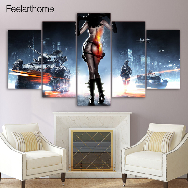 5 Piece Canvas Art Battlefield 3 Posters And Prints Canvas Painting Wall  Pictures For Living Room