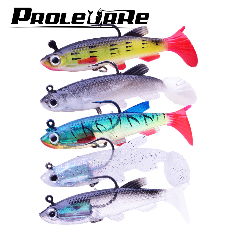 1pcs 90mm/14g 3D Eyes Lead Fishing Lures With T Tail Soft Fishing Lure Single Hook Baits artificial bait jig wobblers rubber