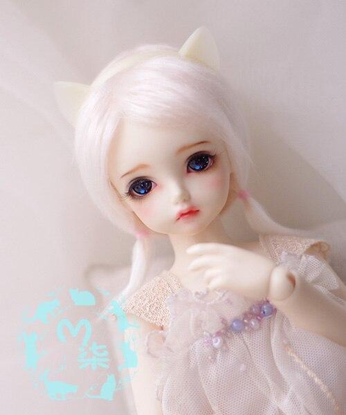 New 1/12 3-4 Inch 9-10cm 1/8 4-5 Inch 12cm 14cm BJD Fabric Fur Wig Water Pink For AE PukiFee Lati  Antiskid BJD Doll Wig