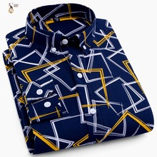 Aoliwen 2019 Printed long sleeve shirt men casual high street style shirt Polyester Breathable fashion for men Button collar stylish shirt collar slimming flower print long sleeve polyester shirt for men