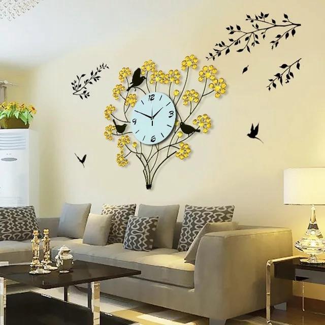 Wall Clock Modern Design Home Decor Watches Living Room 116pcs Diamonds Wrought Iron
