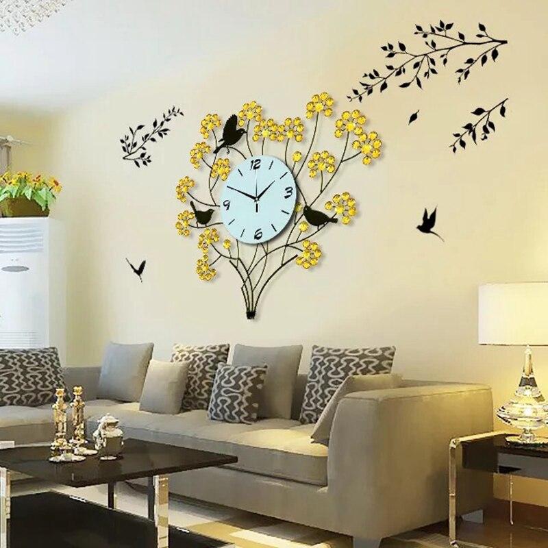 reloj de pared d decoracin del hogar moderno diseo grandes relojes de pared que viven habitacin unids diamantes rbol y