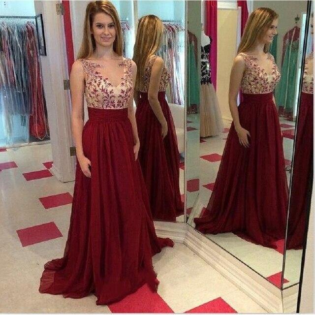 6d7828dda20ce طويل عنابي فستان السهرة الخط الشيفون التطريز الخامس الرقبة ثياب امرأة  الرسمية فساتين المناسبات الخاصة vestido