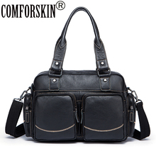 COMFORSKIN Brand New Arrivals Fashion Men Leather Handbags Luxurious 100% Cowhide Male Shoulder Bags High Quality