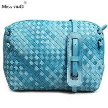Fashion Luxury Sheepskin Woven Women Genuine Leather Bag Candy Color Women Cross Body Shoulder Bags Small Mini Crossbody Bags