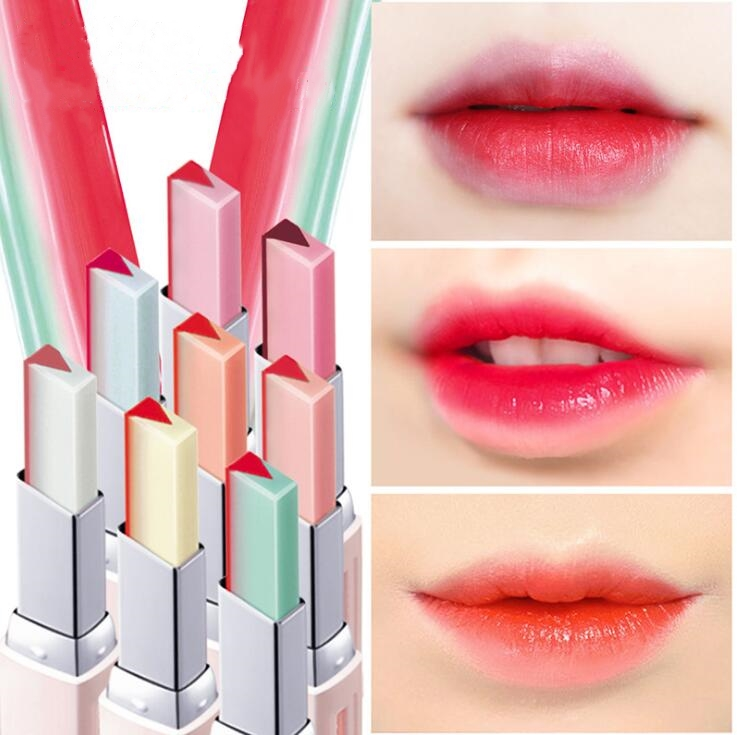 New 8 Color lips Lipstick V Cutting Two Tone Tint Silky Moisturzing Nourishing Lipsticks  Easy to Wear Makeup maquiagem 29076