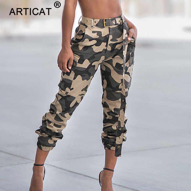 edcd789bab187 Articat Casual High Waist Military Women Harem Pants 2019 Fashion Loose  Belted Pockets Trousers Women Camouflage