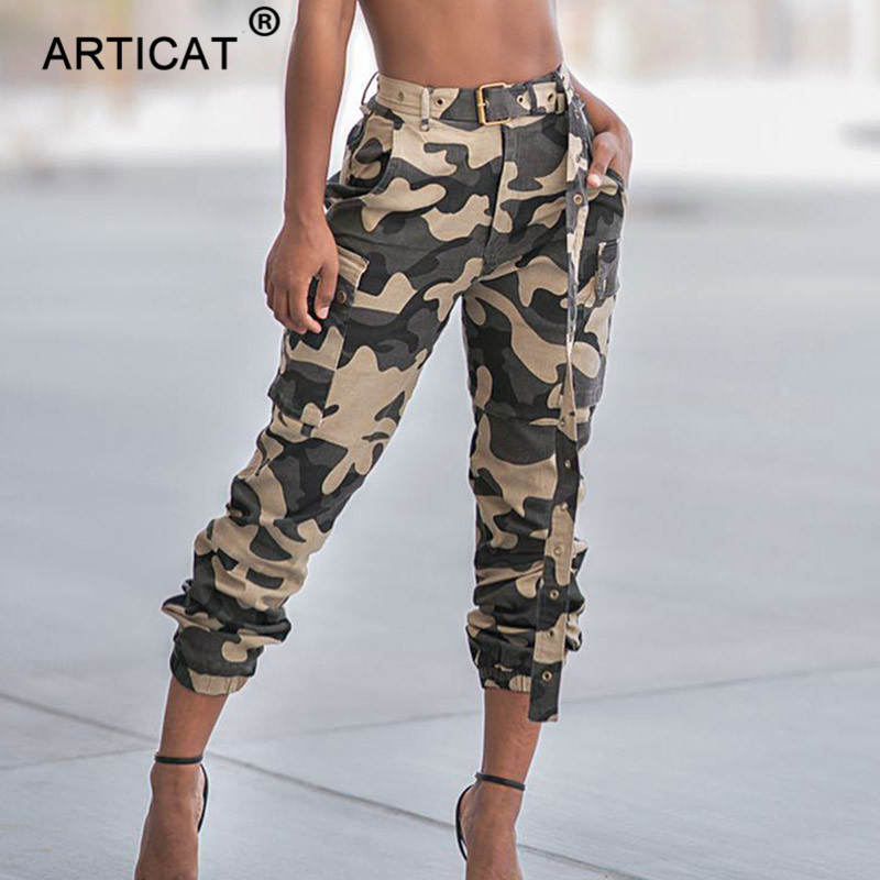 Articat Casual High Waist Military Women Harem Pants 2019 Fashion Loose Belted Pockets Trousers Women Camouflage Pants Sweatpant