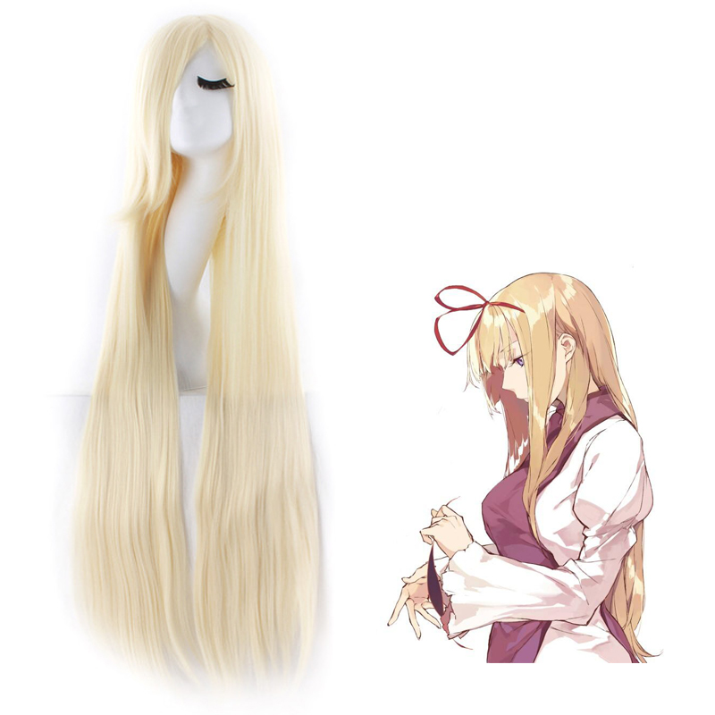 Tou Hou Project Yakumo Yukari 100cm Blonde Anime Costume Cosplay Wig Long Straight Halloween Costumes Party Women Hair Free Cap