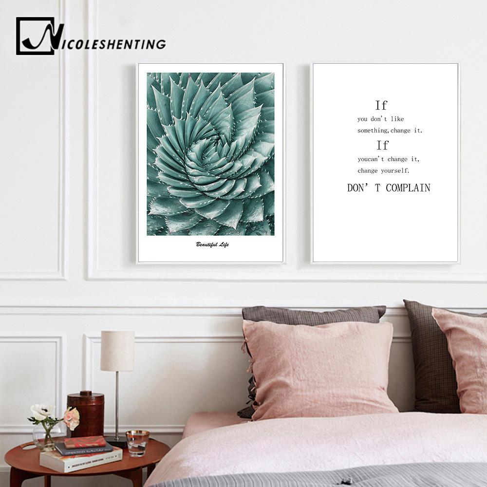 Flower Motivational Canvas Posters Wall Art Canvas Prints Painting Decorative Pictures for Living Room Nordic Decoration FA804(China)