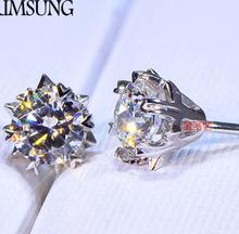 ФОТО 1ct solid 925 stelring silver wedding engagement stud earrings sona dia mond band jewelry women brithday party gift g color