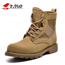 Z.Suo 2017 Top Quality Womens Military Combat Dersert Boots Ladies Cow Suede Canvas Cowboy Outdoor Work Safety Boots Sand ZS158N