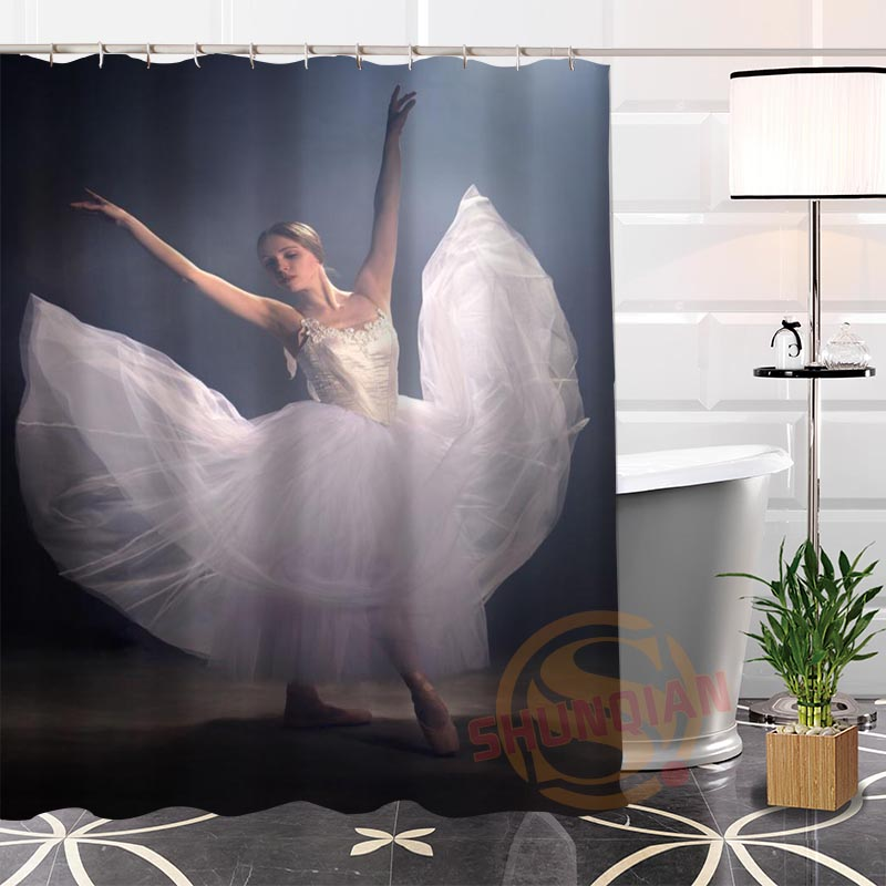 100% Polyester Custom Popular Ballet Fabric Modern Shower Curtain bathroom Waterproof New arrival H0223-34