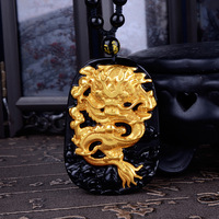 Wholesale Gold Natural Black Obsidian Carving Dragon Lucky Amulet Pendant For Women Men pendants Fashion Jewelry
