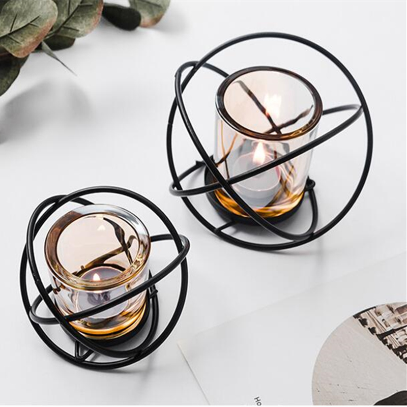 Nordic style iron candle holder 3D Geometric candlestick stand rack matching Tealight Home Ornaments metal crafts