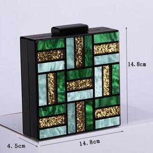 Image 5 - Nouvelle mode motifs géométriques sacs de soirée vert acrylique sac carré femmes jour pochettes fête bal mariage sacs à main embrayages