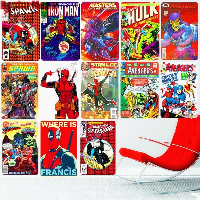 Avengers Vintage Trang Trí Nhà Cửa Kim Loại Tín Hiệu Thanh Cafe Quán Rượu Sòng Bạc Tấm Francis Poster SƯ Dán Tường Anime Người Hâm Mộ Tặng
