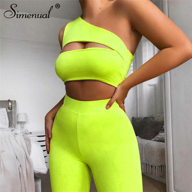 Simenual Neon Color Women Two Piece Set One Shoulder Casual Tracksuits Cut Out Crop Top And Biker Shorts Sets Sporty Active Wear