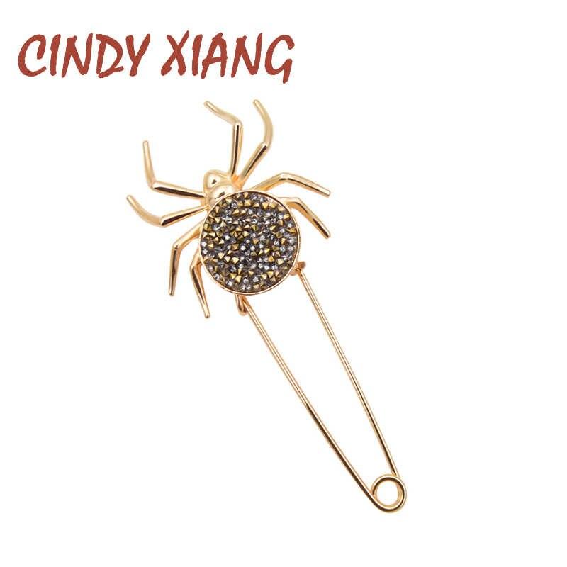 CINDY XIANG del rhinestone del ragno spille per le donne di modo di grandi dimensioni pin autunno inverno maglione accessori 2 colori scegliere insetto pin
