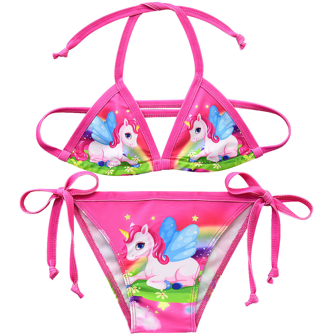 2019 New Unicorn Girls Swimsuit Two Piece 3-12 Years Children's Swimwear Unicorn Bikini Set For Girl Swimming Beachwear G48-8073