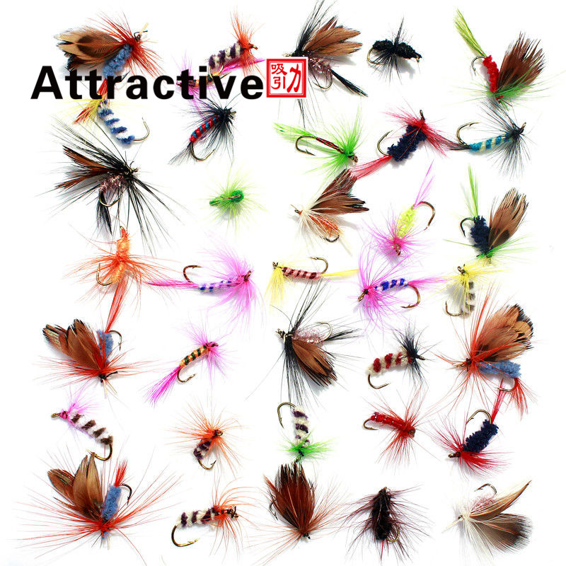 36pcs Promotion Fly fishing Lure Hooks  Butterfly Insects Style Salmon Flies Trout Single Dry Fly Fishing Lures Fishing Tackle