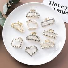 MENGJIQIAO Korean 2019 Hair Jewelry Simulated Pearl Hair Claws Rhinestone Hairclips Bridal Wedding Hair Accessories Headwear beige simulated pearl colorful square cloth headbands headwear